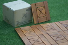 50 Solid hardwood easy fit wooden decking tiles Patio garden 30cm x 30cm 8 slat