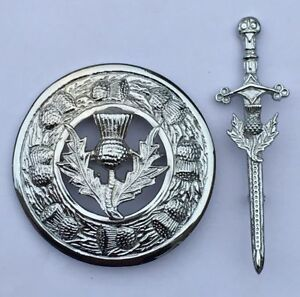 "SL Scottish Kilt Fly Plaid Pin Brooch Thistle Heritage Chrome 4""/Pins & Brooches"