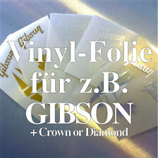 1x vinilo-diapositivas Repair-kit cabeza placa/Headstock decal ZB. Gibson Crown/Diamond