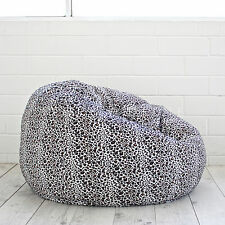 LUXE FUR BEANBAG Snow Leopard Print Chair Soft Animal Safari Bean Bag Cover NEW