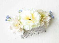 Crème Ivoire Bleu Wildflower Gypsophile Fleur Peigne À Cheveux