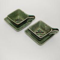 Vintage Hope Warren California Pottery Vintage MCM Drip Glaze Teacup Saucer Set