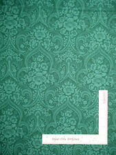 Belgian Floral Damask Green  #6714 Cotton Fabric Campbell & Fundora By The Yard