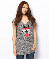Adidas Originals Womens Girls Ladies Gift Sports Grey Leopard Print T-shirt Top