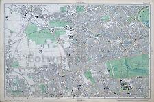 Original Antique Map of LONDON, HAMMERSMITH, KENSINGTON, PADDINGTON, 1904.