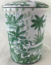 TOOTHBRUSH HOLDER GREEN WHITE ANTIQUE ASIAN CHINESE/JAPANESE STYLE LOTUS FLOWERS