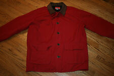 Marlboro Country Store lined Barn Coat Work Jacket Men's Large leather trim red