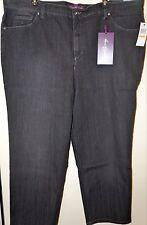 "GLORIA VANDERBILT""Amanda""Tapered Jeans Pant in BLACK OPAL Women's Plus 24W Short"
