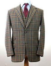 J.PRESS Irish Tweed Brown Red Windowpane Hunting TRAD Prep Jacket & Vest 42 R