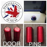 VW T5 T6 Red Door Lock Pull Pins Precision UK Machined And Laser Engraved