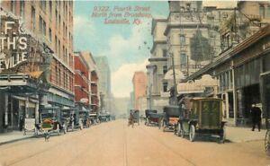 Louisville Kentucky Autos Trolleys 4th Broadway Acmegraph 1913 Postcard 21-6466