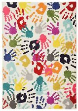 "Modern Multi Colours Hands Design Kids Rug in 120 x 160 cm (4'x5'3"") Carpet"