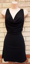 H&M COWL NECK BLACK THICK QUALITY TUBE A LINE SEXY BELTED  BACKLESS BACK DRESS S