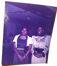Vintage 70s Found Color PHOTO Black African Guests At Budget Wedding Party