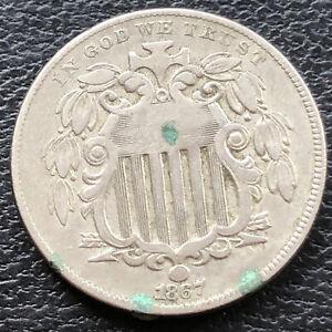 1867 Shield Nickel 5c High Grade XF+ With Rays #28820