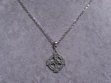 Tibetan Silver Celtico Croce Ciondolo Collana Catena argento fatto a mano.