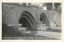 SEATTLE WA – Tunnels Entrance from Lake Washington Floating Bridge Real Photo PC
