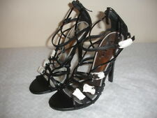 """NEW BEBE SONORA LEATHER Size 8.5 BLACK SHOES SANDALS STRAPPY 4 3/4"""" HEELS WOMEN"""