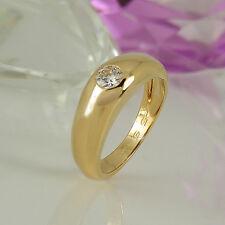 Ring Bandring 750 Gelbgold 18K 1 Diamant Brillant ca 0,25 ct Wesselton si Gr. 49