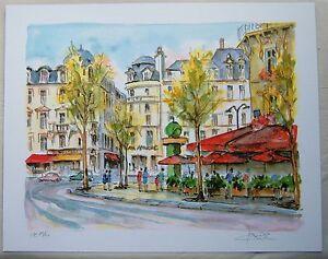 """Daniele Cambier """"Paris-Avenue George V et Champs Elysees"""" Seriolithograph"""