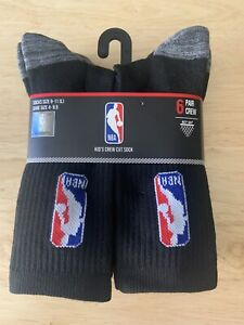 NBA Boys Crew Socks Net Dry Logo Basketball Black Athlete 6 Pack Shoe Size 4-9.5