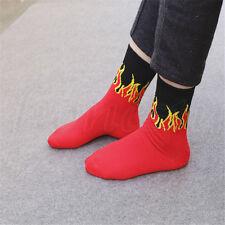 Hip Hop Punk Rok Red Flame Knitting Socks Skateboard Black in Tube Sock Unisex