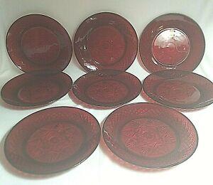Ruby Red Arcoroc Cristal D'Arques France Salad Bread Plates SET OF 8 Luminarc