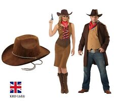 ADULT COWBOY HAT Wild West American Fedora Cowgirl Leather Fancy Dress New UK