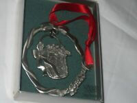 Vintage Lindsay Claire Fine Pewter Christmas Ornament Basket w/ Box (D79)