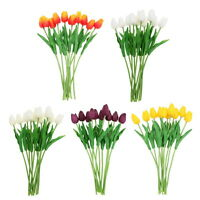 10 Head Latex Real Touch Tulip Flower For Home Bridal Wedding Bouquet Decor Gift