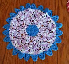 """Vintage Doilie Doily Purple Violet &  Blue Hand Crochet 17"""" Round"""