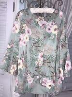 NEW Plus Size 2X Green Pink Floral Blouse Shirt Button Tank Top