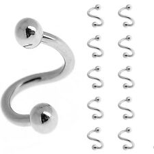 Hot Twisted Surgical Stainless Steel Nose Hoop Ring Balls 18 Gauge 8mm Diameter