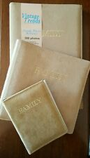 NEW Vintage Trends set of 3 beige suede photo albums FAMILY pictures decor