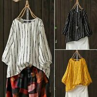 ZANZEA Women Round Neck Casual Stripe Shirt Tops 3/4 Sleeve Blouse Plus Size Tee