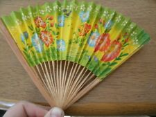 Vintage Yellow Floral Folding Hand Fan - Paper and Wood, Taiwan