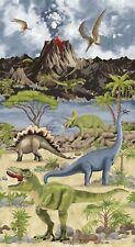 "23"" Fabric Panel - Timeless Treasures Dinosaur Dino World Volcano Prehistoric"