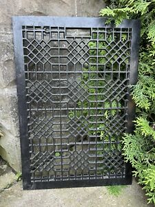 Large Heavy CAST IRON Ornate Working Furnace HEAT Grate Antique Window Vent #7