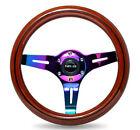 NRG Steering Wheel Dark Wood Grain 310mm 3Spoke Neo Chrome Center & Line inlay