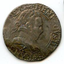 Henri III (1574-1589) 1/2 Franc au col plat 1585 ? X Amiens