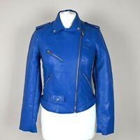 Womens ZARA Faux Leather Biker Jacket Size M UK 10-12 Zip Up Asymmetrical Cobalt
