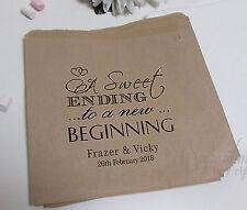 Personalised love Sweet Beginning Candy Bag Wedding kraft Brown paper Heart SB61