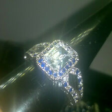 EMERALD CUT CREATED WHITE/BLUE SAPPHIRE RING SIZE T