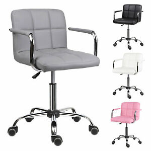 Swivel Office Chair w/ Armrest Comfy Padded Seat Faux PU Leather Computer Chair