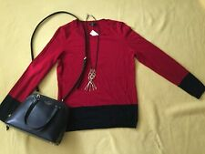 NWT Petite S Talbots Red and Black Colorblock Crewneck Sweater Lightweight