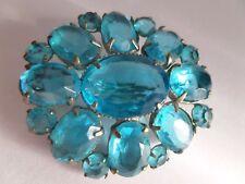 Art Deco, Vintage Czech Aquamarine glass, Open-back Brooch - Intense Colour!