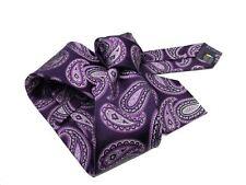 Cravatta blu disegni motivo paisley lilla viola seta raso 7cm made in Italy