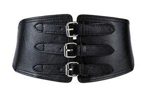 Wide black leather multi 3 silver buckle belt corset cinch