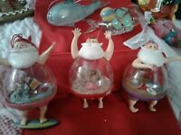 Santa Tropical Globe Glass Christmas Ornaments ~ Unusual ~ EUC