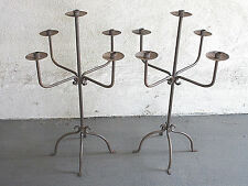 """VINTAGE ANTIQUE 33"""" PAIR CALIFORNIA MISSION WROUGHT IRON 5 CANDLE CANDALABRA"""